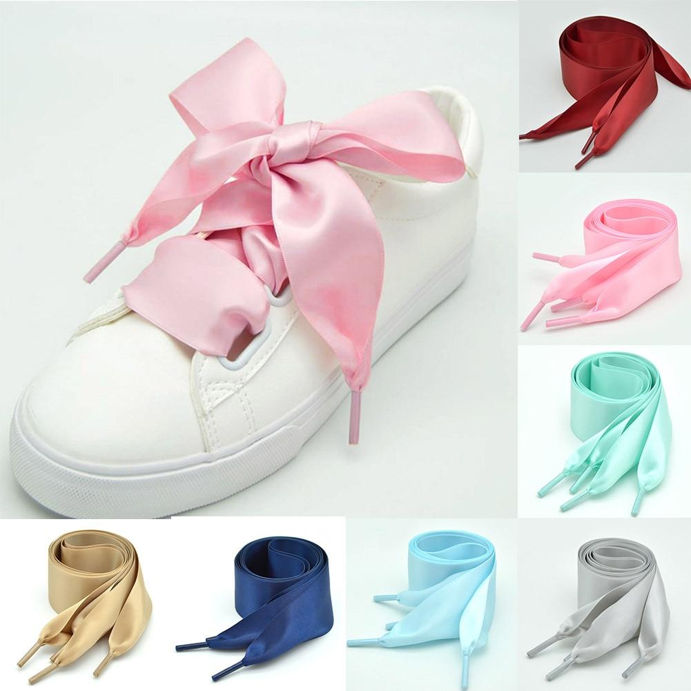 1Pair 4cm Width 90CM Flat  Satin Silk Ribbon Shoelaces Polyester Shoe Laces Sneaker Sport Shoes Lace Strings