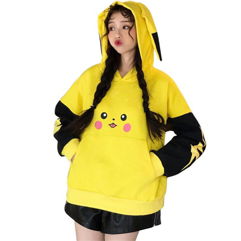 Japan Cartoon Anime Pokemon Pikachu Coat Top Autumn Winter Secondary Element Lovely Pikachu Ears Dressing Hood Fleece Jacket