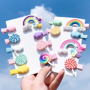 [Xwen]Korean Candy Color Edge Clip Rainbow Hairwear Lollipop Bangs Cute Girl Kids Hairpin Fashion Simple Hair Accessories OH1337