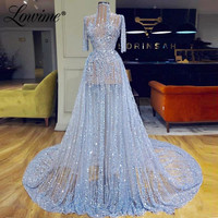 Illusion Couture CrystalBeaded Prom Dresses A Line Half Sleeves Blue Evening Gowns Sheer Tulle Celebrity Party Dress See Through