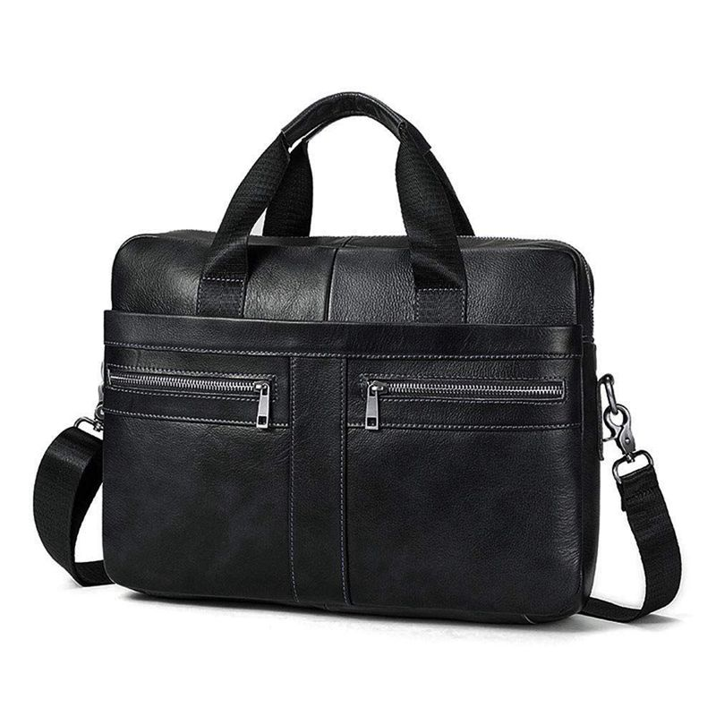 14 Inch Genuine Leather Handbag Briefcase Laptop Document Holder Men Business Women-Black
