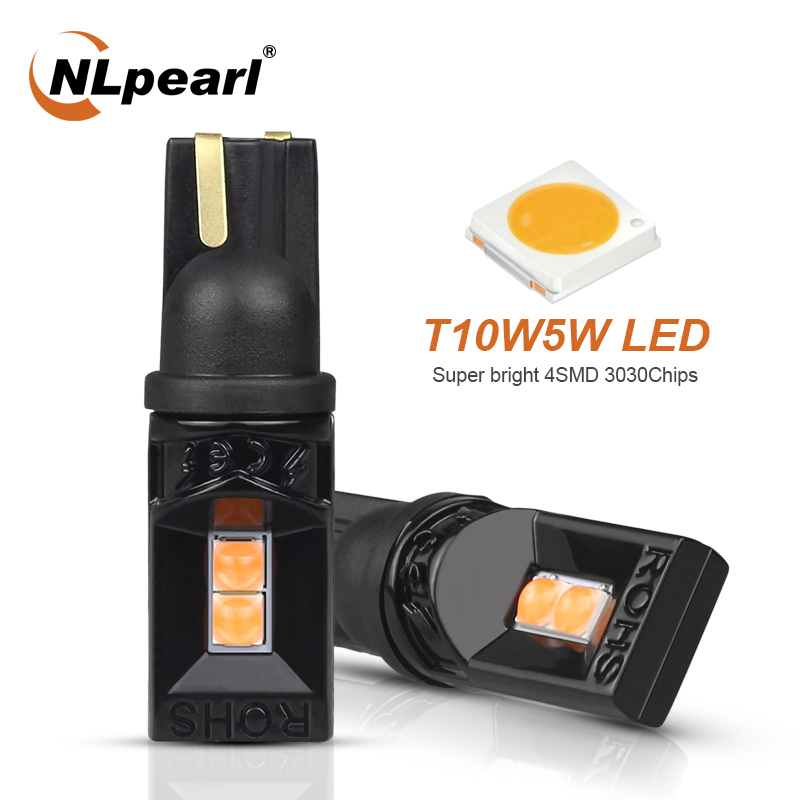 NLpearl 2x Signal Lamp Super Bright T10 W5W 168 194 LED Car Interior Reading Light 3030 4SMD W5W 12V Led Auto Wedge Parking Bulb