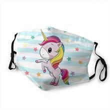 Mascarilla lavable con filtro de polvo para niños, máscara facial de tejido Reusable, unicornio, Kawaii, Niño/niña, mascarada de Cosplay