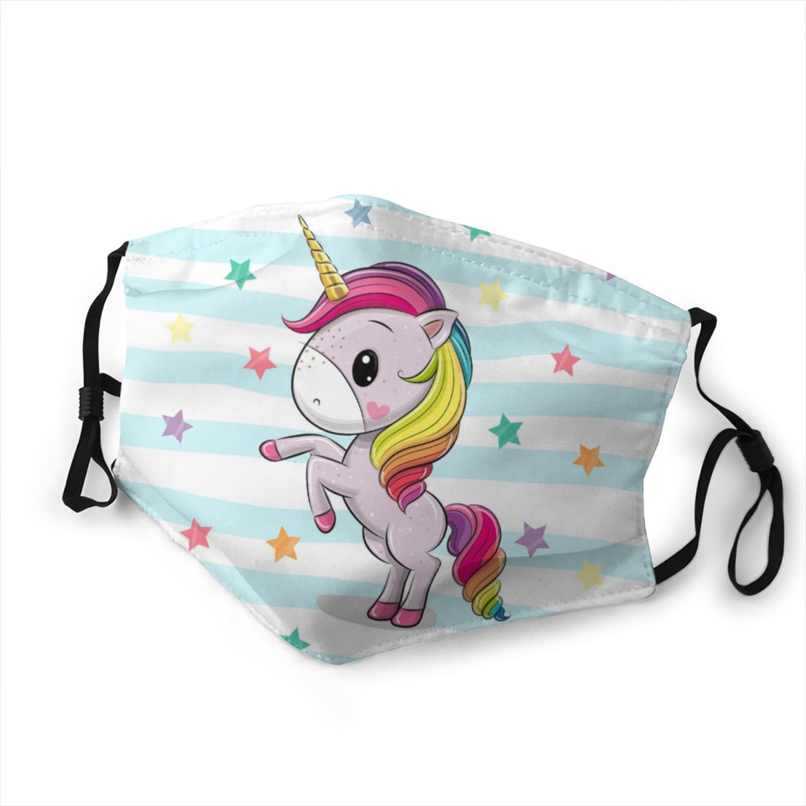 Masque arc-en-ciel pour enfants, filtre lavable, anti-poussière, en tissu, réutilisable, licorne, Kawaii, pour garçon et fille, Cosplay