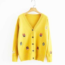 NiceMix Autumn Women Knitted Sweaters Brief Paragraph Cardigan Sweater Female Cartoon Embroidered Loose Casual Women Tops YoYiKa(China)