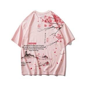 Мужская футболка в стиле хип-хоп 2020, уличная одежда, японская картина сакуры, футболка с коротким рукавом, хлопковая летняя футболка Harajuku, яп...