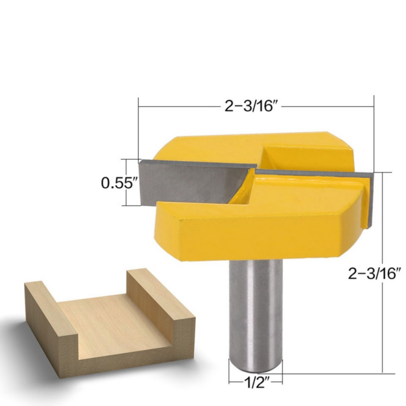 1/2 Inch Shank 2-3/16 Inch Diameter Bottom Cleaning Router Bit Surface Planing Router Bit Woodworking Milling Cutter Tool