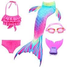 Girls Mermaid Swimsuit Bikini Kids Tail with Finned Child Wear Split Clothing Swimwear