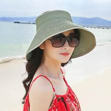 Empty Top Folded Visor Straw Hat Women Bow Trendy Sun And Uv Protection Beach Cap New Female Fashion Foldable Shade Anti-uv Hats(China)