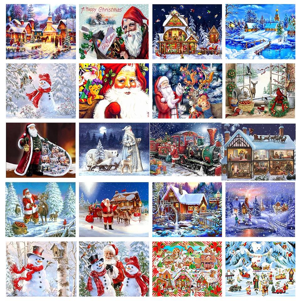 Diy pintura diamante papai noel presente de natal boneco de neve 5d quadrado diamante strass bordado ponto cruz decoração para casa