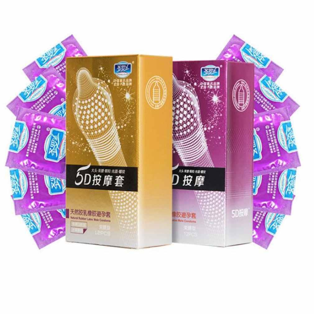 12pcs Premium 5D 5D จุดด้ายถุงยางอนามัยธรรมชาติถุงยางอนามัย Ultra บาง Penis Sleeve Contraception ของเล่นสำหรับผู้ใหญ่ผู้ชาย