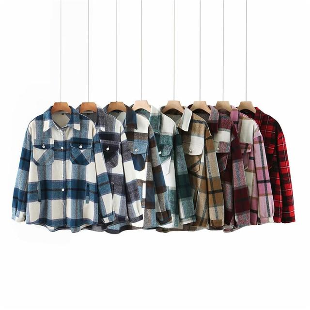 ZXQJ streetwear women woolen thick shirts 2020 autumn fashion ladies plaid shirt female chic oversize top casual girls blouses 1