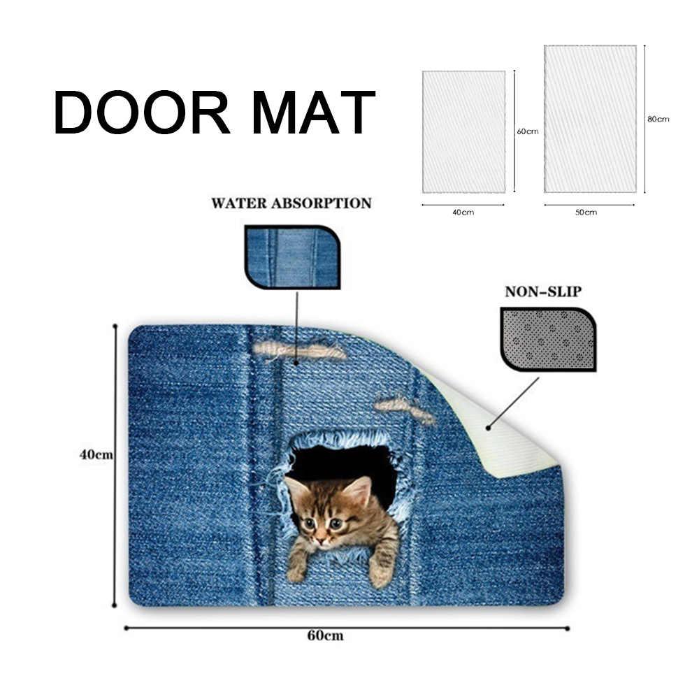 Sevimli kedi kat mat hayvan kedi köpek baskı kaymaz banyo mutfak oturma odası halısı ayak pedi giriş kapısı paspaslar ev dekor