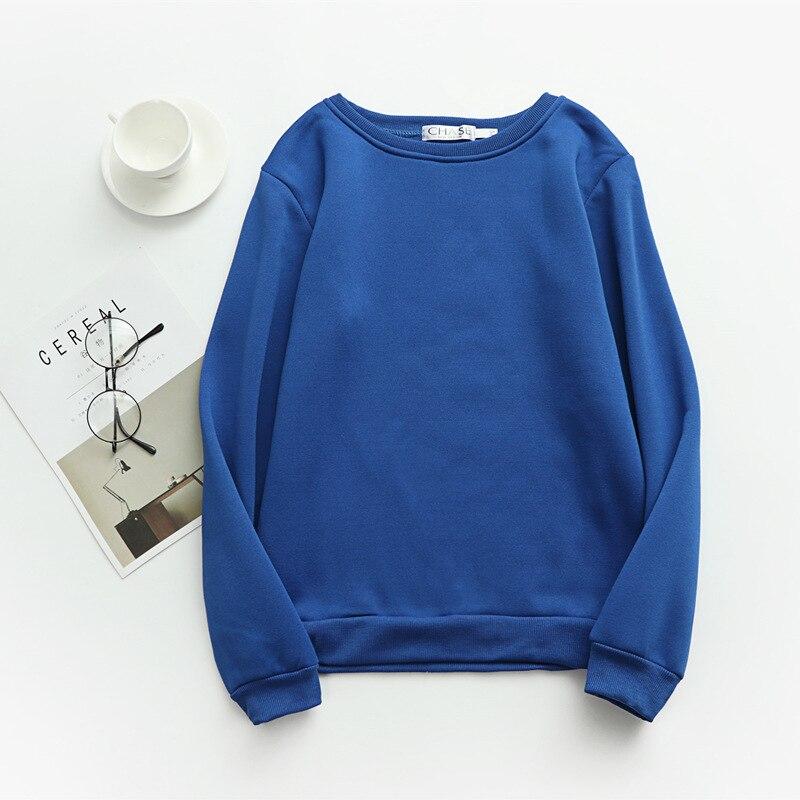Women Solid Sweatshirts Korean Style Autumn Ladies Student Round Neck Long Sleeve Loose Pullover Tops WDC6301 8