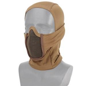 Image 3 - Hooded Bivakmuts Tactical Masker Helmen Steel Mesh Volledige Geconfronteerd Hals Beschermende Jacht Gel Blaster Airsoft Paintabll Accessoires