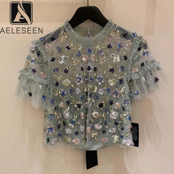 AELESEEN Luxury Fashion Women Summer Blouse 2020 Runway New Sweety Sequined Flower Embroidery Lace Elegant Mesh Top Blouse