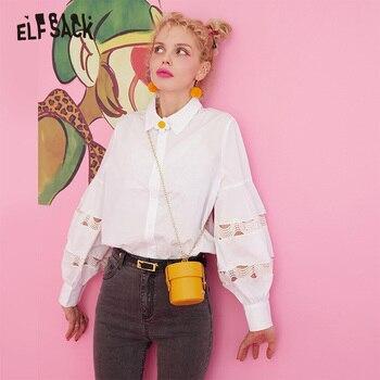 ELFSACK contraste dentelle manches blanc chemisier décontracté uni chemise haut pour femme 2019 automne Style coréen surdimensionné dames Blouses
