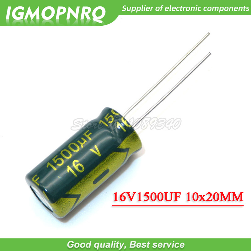 10PCS 16V1500UF 10*20mm <font><b>1500UF</b></font> <font><b>16V</b></font> 10*20 Aluminum electrolytic capacitor image