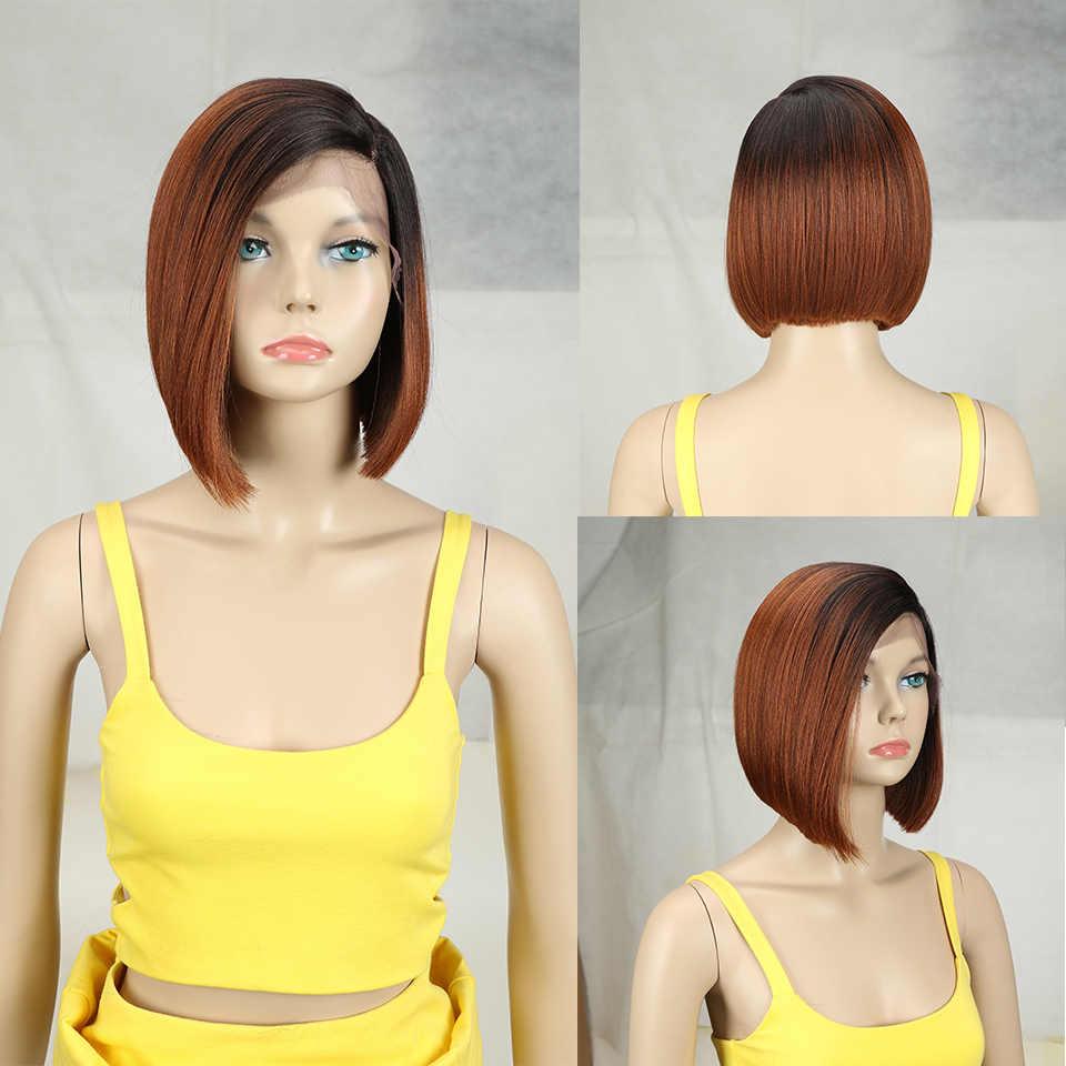 Bella Korte Pruiken Blonde Bob 10 Inch Synthetische Lace Front Pruik Zwart Ombre 613 Bruine Bob Korte Rechte Pruiken Voor zwarte Vrouwen