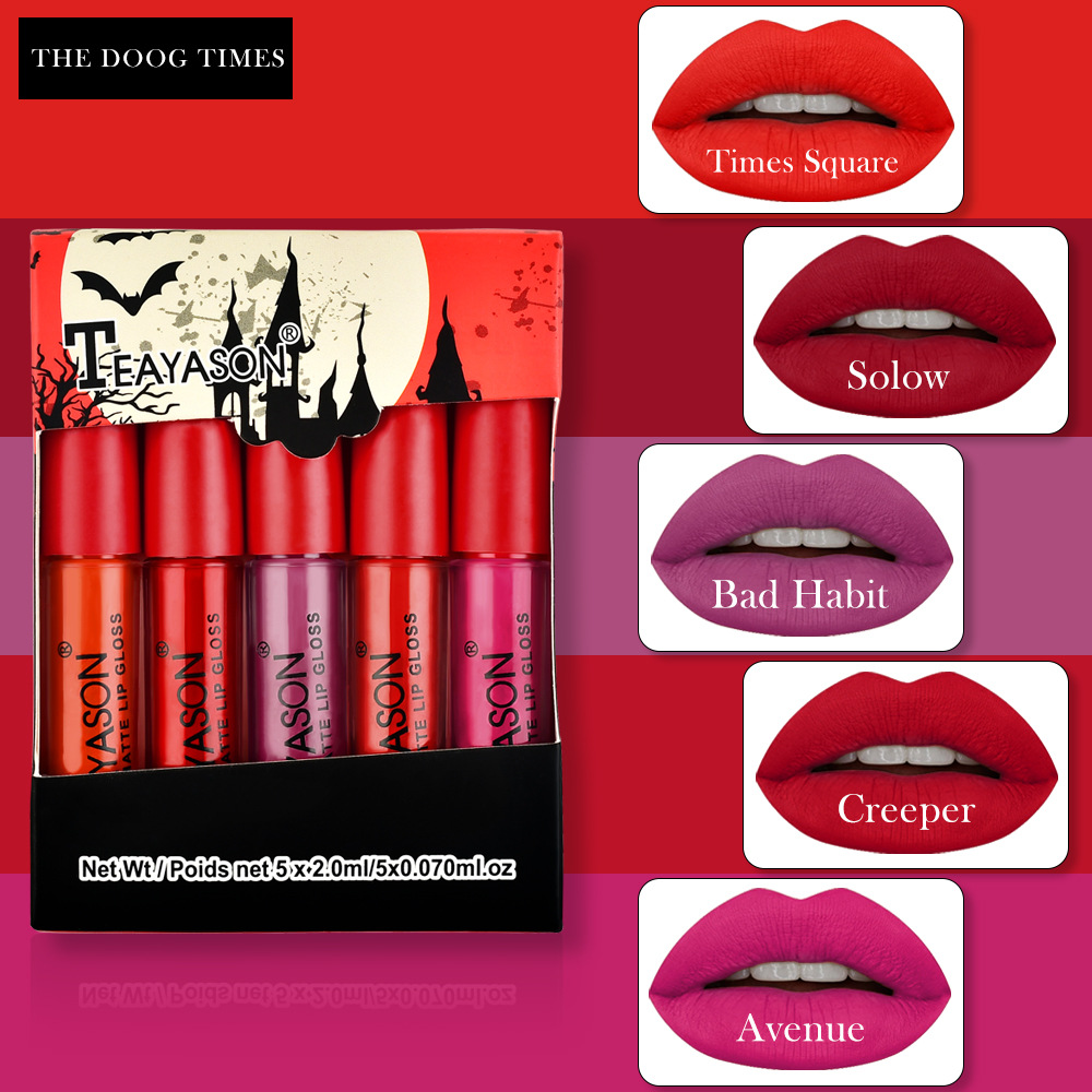 5Pcs/Set Waterproof Lipstick Sexy Vampire Lip Stick Matte Velvet Lipsticks Lips Makeup Cosmetics Labiales Matte Larga Duracion 4