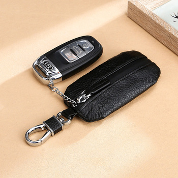 Good Quality Luxury Brand New Upgraded Design Top Layer Real Cow Leather Lichi Pattern Men Women Car Keys Holder Bag