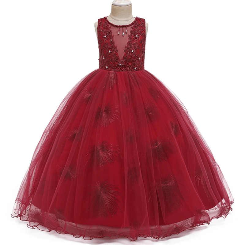 2020 新レディースドレスフラワーガールドレススパンコール子供の結婚式のパーティー子供服初聖体プリンセス夜会服 vestido