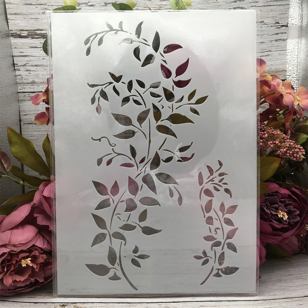 29*21cm A4 Two Leaves DIY Layering Stencils Wall Painting Scrapbook Coloring Embossing Album Decorative Template