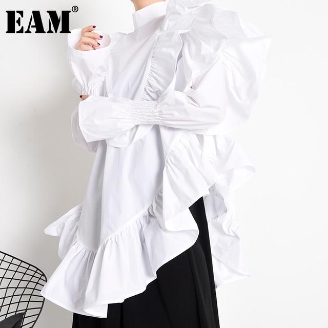 [EAM] Women Ruffles Irregular Blouse New Stand Collar Long Sleeve Loose Fit Shirt Fashion Tide Spring Autumn 2021 1Z19900 1