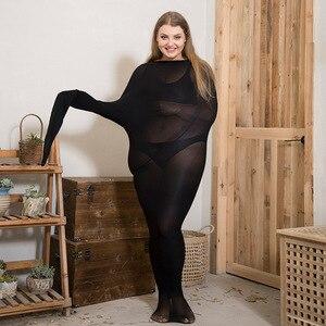 Image 2 - 1200d 여성 스트라이프 팬티 스타킹 플러스 사이즈 하이 웨이스트 안티 후크 블랙 스타킹 큰 사이즈의 따뜻한 매끄러운 스타킹은 65 150kg