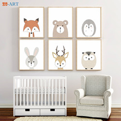 Cute Animal Print Baby Fox Bear Deer Rabbit Posters Canvas Painting Gender Neutral Wall Art Children Room Woodland Nursery Decor