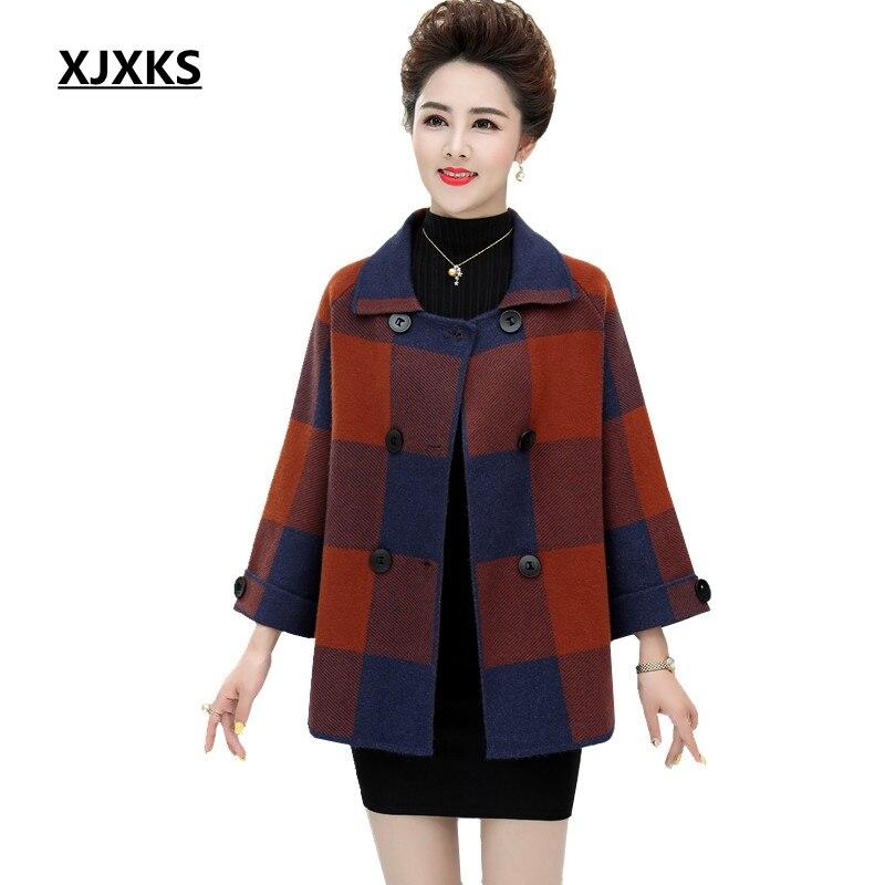 XJXKS femmes manteau de laine automne et hiver col rabattu grande taille élégant manteau de haute qualité confortable lâche manteau