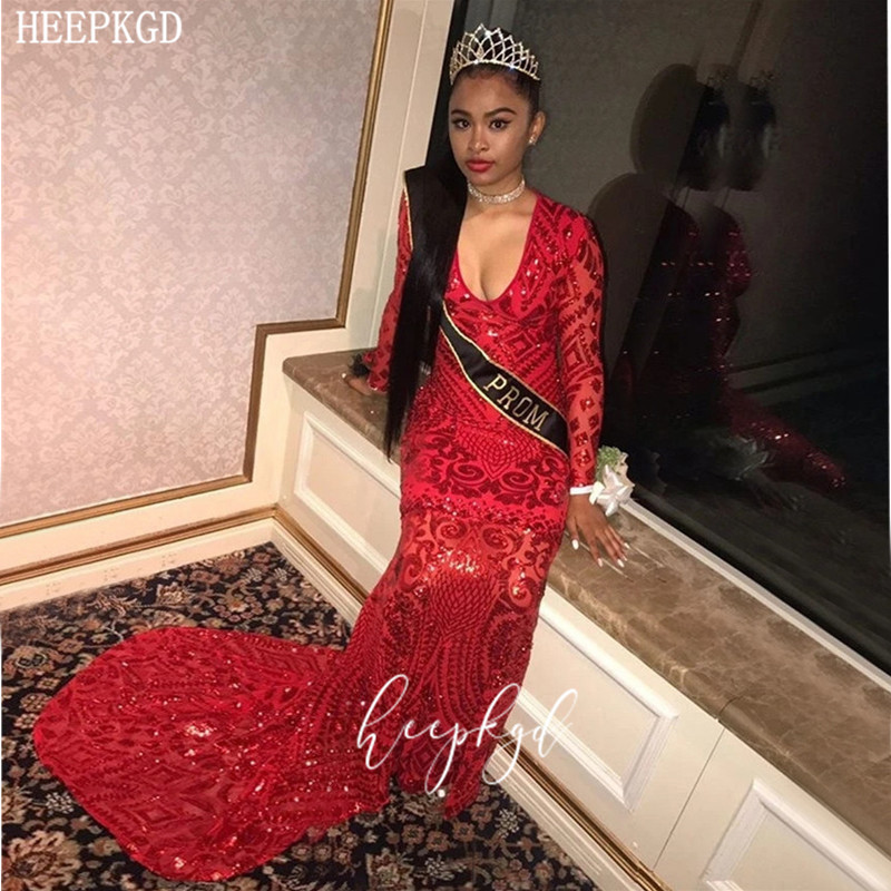 Red Sequins Mermaid African Evening Dress V Neck Long Sleeves Sparkly Black Girls Pageant Dresses Plus Size Graduation Gowns