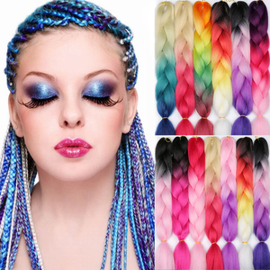 MERISIHAIR 24 inch Jumbo Braids Long Ombre Jumbo Synthetic Braiding Hair Crochet Blonde Pink Blue Grey Hair Extensions African(China)