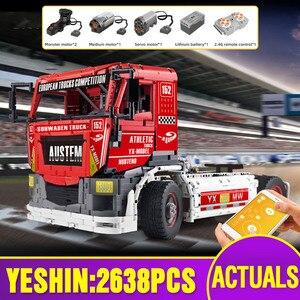 Image 1 - Molde rei 13152 técnica carro brinquedos compatíveis com MOC 27036 app motorizado caminhão de corrida mkii blocos de construção crianças presentes natal