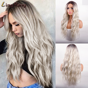 LINGHANG Long Water Wave Blonde Wig Platinum Blonde Synthetic Wigs for African American Women Two Tone Natural Middle Part Wig