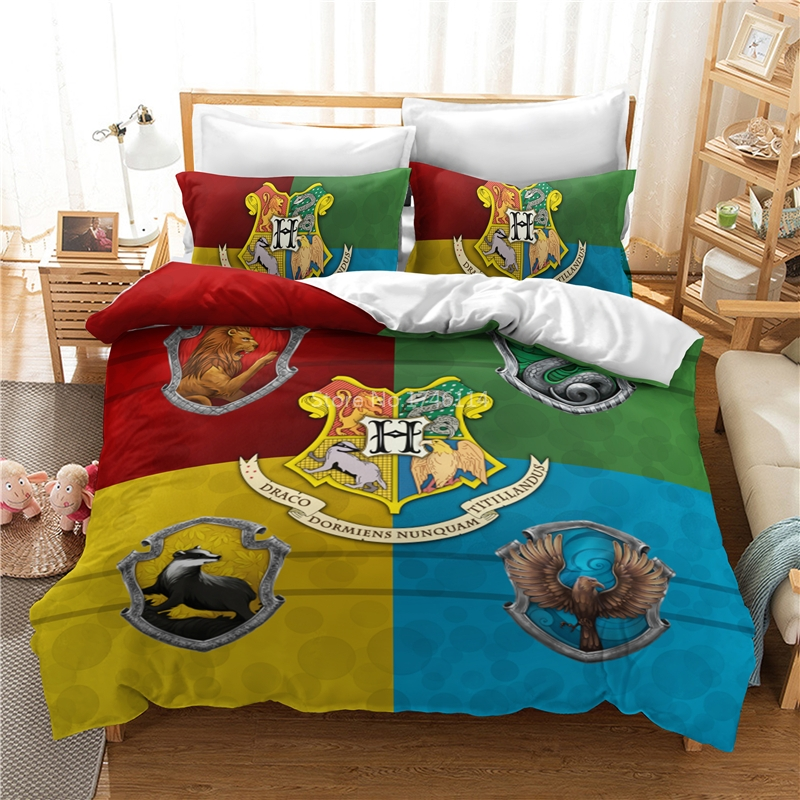 Magic Novels Movie Potter Wizard Student Comforter Cover Pillowcase Bed Linens Bedclothes Home Textile Twin Full Queen King Size