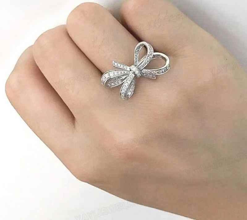 สุภาพสตรีแหวนหมั้นโรแมนติก Bow-Knot Charm เงินงานแต่งงานแหวน Cubic Zirconia แหวนเครื่องประดับ