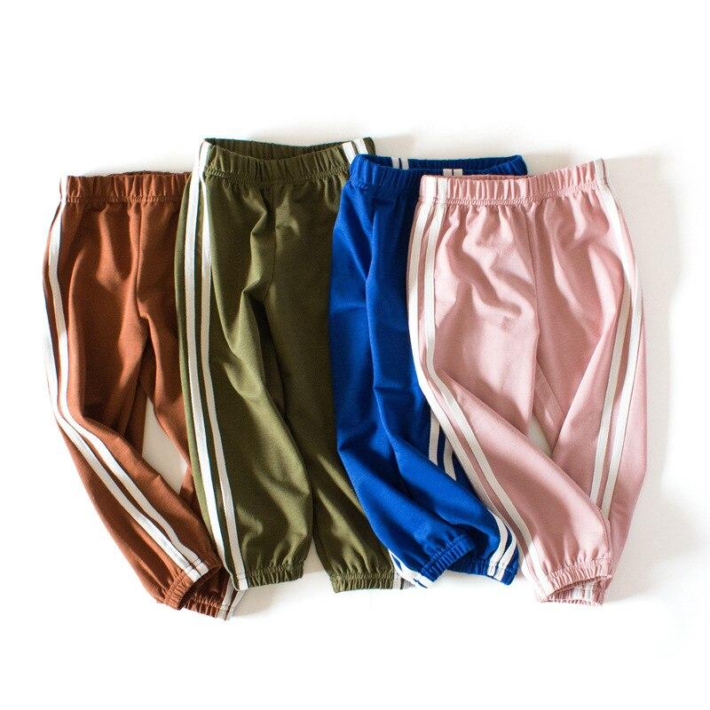 Children's School Sports Pants 19 New Girls pants Autumn Boys sports Trousers Girls Baby Cotton Stripes Leggings 2