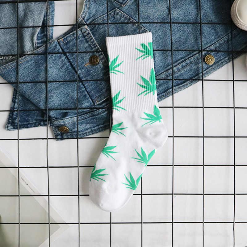 แฟชั่นสบายถุงเท้าคุณภาพสูง Maple Leaf ใบสบายๆวรรคยาวกัญชาวัชพืชเรือถุงเท้าฤดูใบไม้ผลิและฤดูใบไม้ร่วง