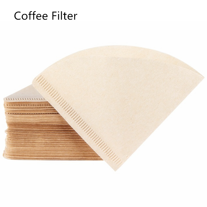100 Pieces 1-2 Cup Wooden Hand V60 Drip Paper Coffee Filter 102 Coffee Strainer Bag Espresso Tea Infuser Accessories