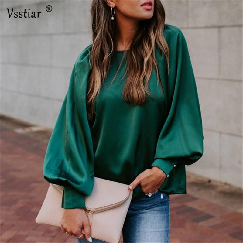 Vsstiar Satin Blouse Women Puff Sleeve O Neck Party Elegant Office Shirt Autumn Winter Long Sleeve Woman Tops Silk Blouse
