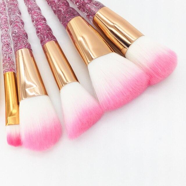10pcs Unicorn Makeup Brushes Set Diamond Crystal Handle Blending Foundation Powder Eyeshadow Eyebrow Brush Beauty Make Up Tools 3