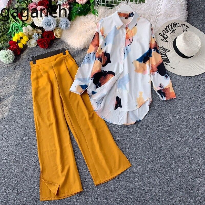 Gagarich Women Casual Two Pieces Set Spring Chic Print Long Sleeve Chiffon Shirt Retro High Waist Split Wide Leg Long Pants Sets