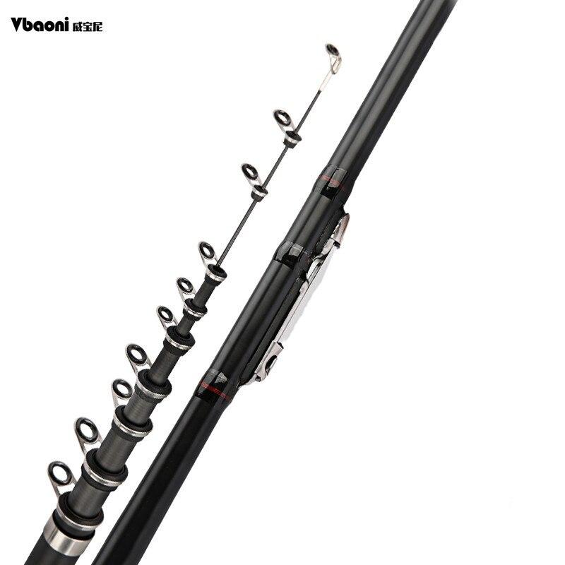 Alta qualidade de fibra de carbono fiação vara de pesca energia telescópica vara de pesca de rocha carpa alimentador vara de viagem barcos mar 2.4-6.3m vboni