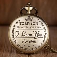 Watches Chain Pocket Engraving Number-Quartz Word Christmas-Gifts Birthday Bronze Roman