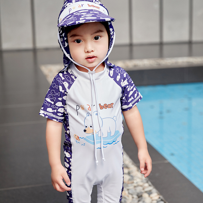 2019 New Style KID'S Swimwear BOY'S Summer 2-7-Year-Old Children One-piece Bear Cute Cartoon Swimming Suit