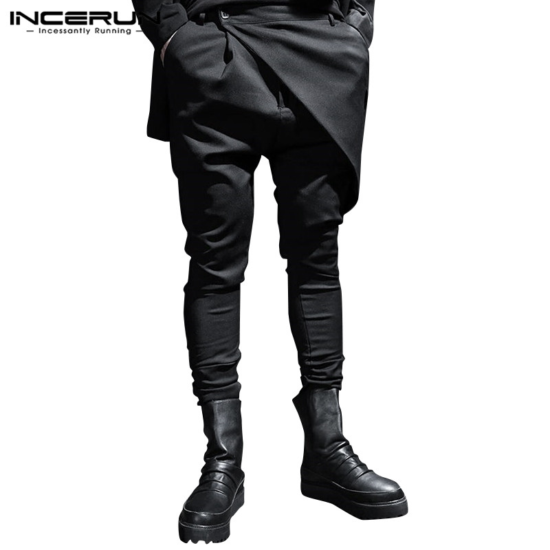 INCERUN Fashion Punk Style Men Pants Joggers Button Plain 2020 Pockets Korean Irregular Trousers Men Streetwear Harem Pants 5XL