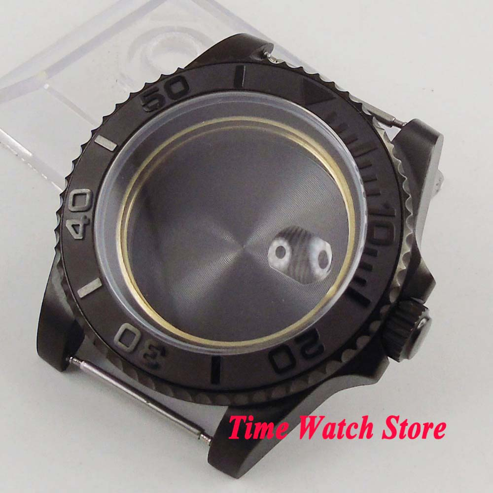 Parnis 40mm PVD Coated Watch Case Fit ETA 2836 Miyota 8215 Movement Brushed Ceramic Bezel Sapphire Glass For SUB Men's Watch C22
