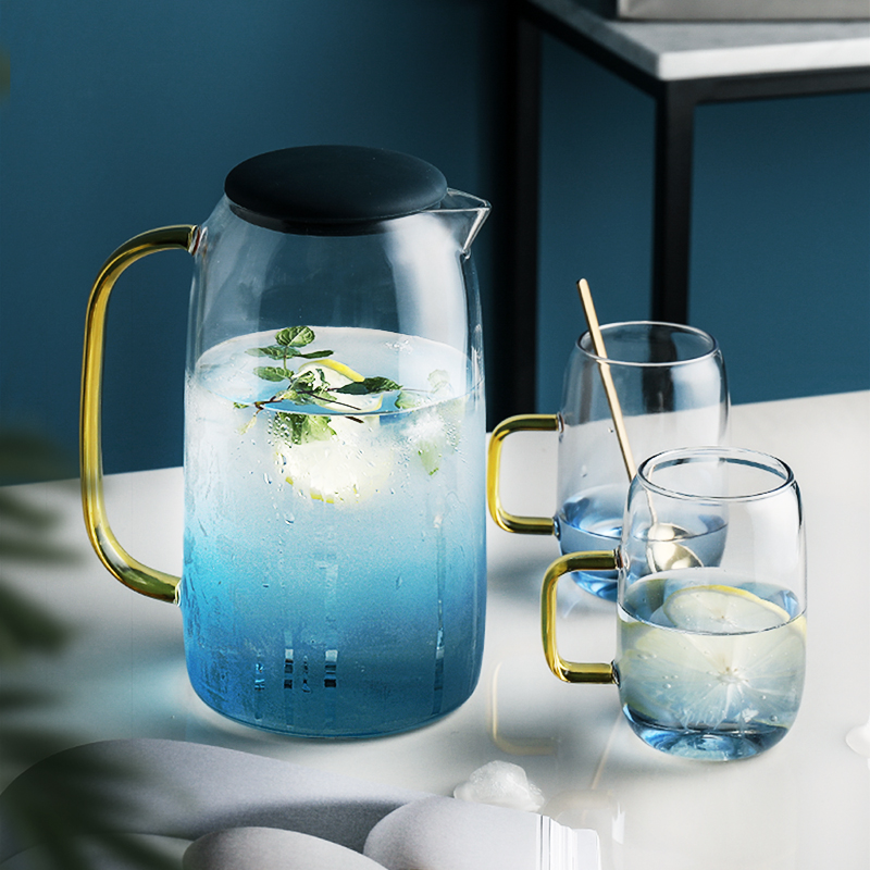 Glass Teapot 2.1L Cold Water Kettle Set With Heat Resistant Glass Cup Perfect For Tea And Water Drinkware