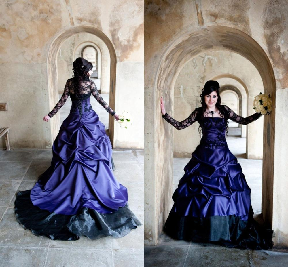Vintage Plus Size Purple Gothic Wedding Dresses With Lace Sleeve Jacket 2020 Sweep Train Offbeat  Alternative Wedding Gown